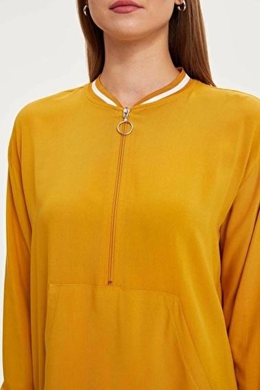 DeFacto Yakası Fermuar Detaylı Tunik Sarı